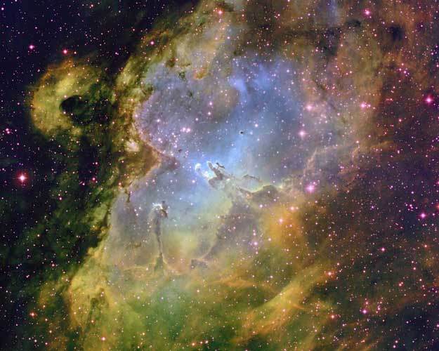 A picture of the inside of the Eagle Nebula